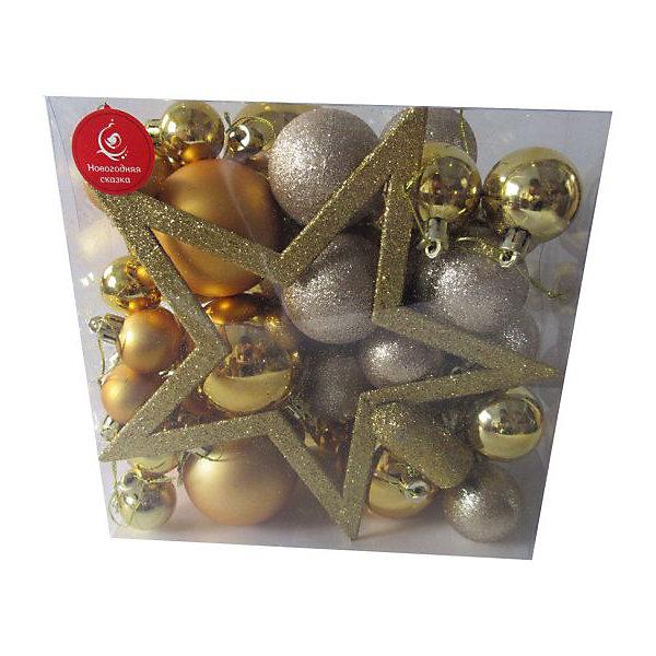 Новогодняя сказка Набор ёлочных шаров Новогодняя сказка 50 шт, золотой