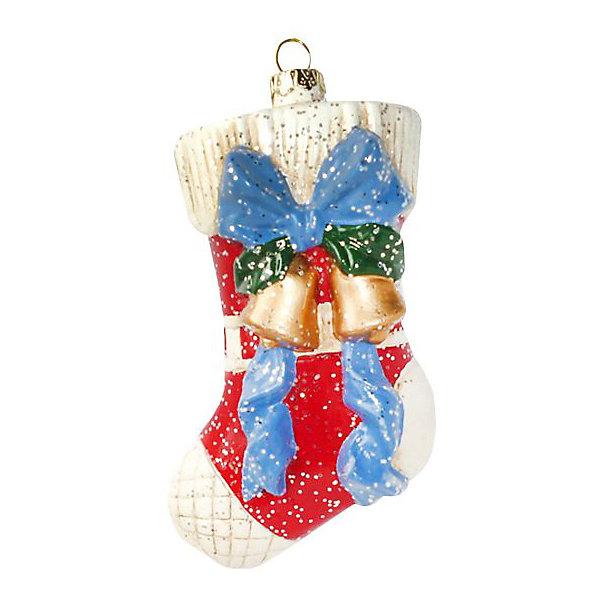 Украшение на ёлку Новогодняя сказка Подарочный носок, 12,5 смЁлочные игрушки<br>Характеристики:<br><br>• материал: пластик, блестки<br>• размер игрушки: 7,5х4,5х12,5 см<br>• вес упаковки: 40 г<br>• страна бренда: Россия<br><br>Украшение крепится на елку с помощью петельки для шнурка. Игрушка покрыта блестками и окрашена стойкими красками. Кроме того, носочек не бьется при падении.