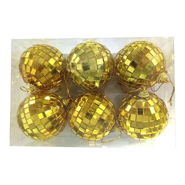 Новогодняя сказка Набор ёлочных шаров Новогодняя сказка 6 шт, 6 см, диско золото набор шаров новогодняя сказка 971970 синий 6 см 6 шт стелко