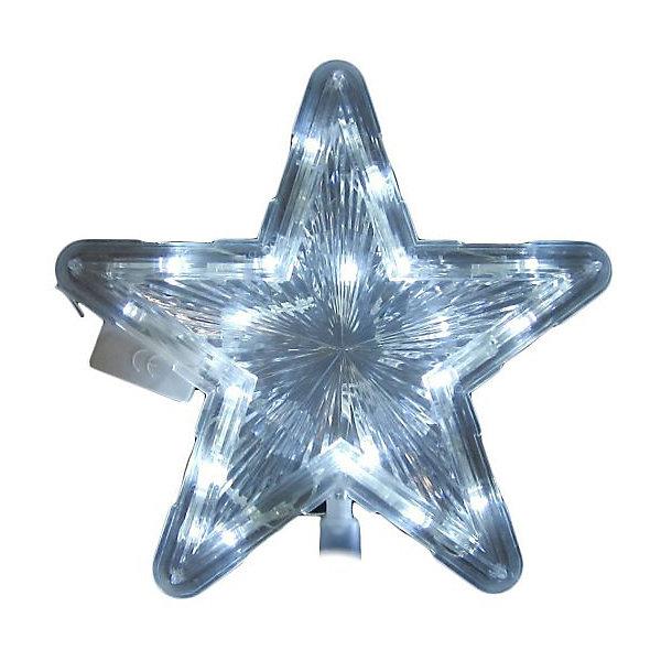 Электрическая верхушка на ёлку Новогодняя сказка Звезда, 22 смЁлочные игрушки<br>Характеристики:<br><br>• материал: пластик<br>• высота игрушки: 22 см<br>• свечение: белое<br>• вес упаковки: 90 г<br>• размер упаковки: 23х23х2 см<br>• страна бренда: Россия<br><br>Звезда украшает собой макушку новогодней елки. Надевается на верхнюю ветку с помощью конуса. Игрушка подсвечивается белыми LED-лампочками изнутри.
