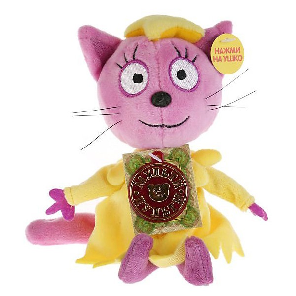 Мягкая игрушка Мульти-пульти Три кота Лапочка, 13 смМягкие игрушки из мультфильмов<br>Характеристики:<br><br>• материал: текстиль, плюш<br>• звуковые эффекты<br>• работает от батареек<br>• любимый герой: Три кота<br>• персонаж: Лапочка<br>• высота игрушки: 13 см<br>• вес упаковки: 100 гр<br>• размер упаковки: 6х21х8 см<br>• страна бренда: Россия<br><br>Кошечка Лапочка розового цвета одета в жёлтое платье, у неё большие глаза, аккуратный носки и ротик, а по бокам торчат усы. Включив игрушку она начнёт говорить фразы или петь песенки. Выполнена из мягкого и приятного материала, гипоалергенна.