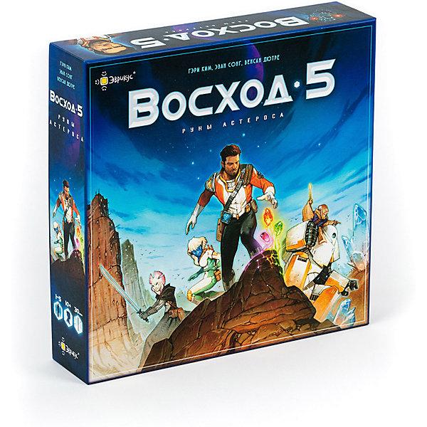 Настольная игра Эврикус Восход 5: Руны АстеросаДля всей семьи<br>Характеристики:<br><br>• количество игроков: 1-5<br>• время игры: от 30 минут<br>• в наборе: игровые поля, 5 фигурок героев, 94 карточки, 42 жетона, маркер портала, счетчик затмения, поле астрологических символов, 4 кристалла, кубик, правила игры<br>• особенности: кооперативная игра<br>• вес упаковки: 1,03 кг<br>• размер упаковки: 6,5х27,5х28 см<br>• страна бренда: Россия<br><br>Легенда гласит, что для спасения Астероса от необъятного ужаса героям предстоит запереть зло в портале с помощью четырех рун. Символы нужно расположить в правильном порядке, его и предстоит вычислить участникам. Игра полна захватывающих событий и приключений, рассчитана на командную слаженность.