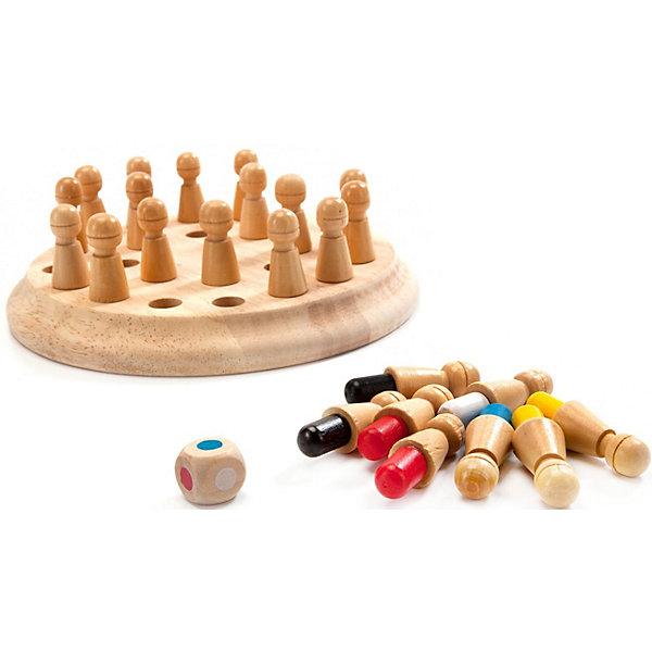 Шахматы для тренировки памяти Bradex МнемоникиДля двоих<br>Характеристики:<br><br>• материал: дерево<br>• в комплекте: подставка с отверстиями, 24 фигуры с разноцветными стержнями, кубик с точками, инструкция<br>• количество игроков: от 1<br>• упаковка: картонная коробка<br>• вес в упаковке: 350 гр<br>• размер упаковки: 18х5х17 см<br>• страна бренда: Израиль<br><br>В развивающую игру можно играть одному или в компании до четырёх человек. На подставку в произвольном порядке устанавливаются фигуры, все игроки должны запомнить какой цвет где находится. Затем нужно по очереди бросать кубик, какой цвет выпадет, такую фигуру нужно достать и положить около себя. Если вытащили неверный цвет, то ставим на поле нужно поставить эту фигуру в любое свободное место. Игра закончена если все отверстия остались пустыми. Кинув кубик и получив цвет, который уже выбыл из игры, просто кидаем его ещё раз.