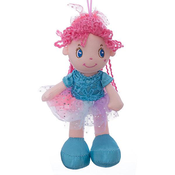 ABtoys Мягкая кукла с розовыми волосами в голубой пачке, 20 см