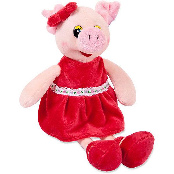 ABtoys Мягкая игрушка ABtoys Свинка в красном платье, 16 см. мягкая игрушка свинка городецкий стиль 23 см в ассортименте