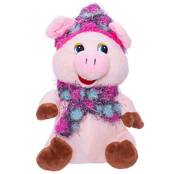 ABtoys Мягкая игрушка ABtoys Свинка в розовых шапочке и шарфике, 17 см.