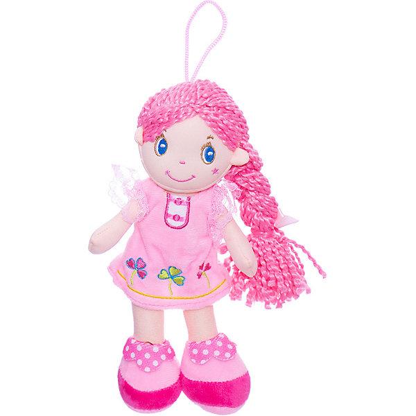 ABtoys Мягкая кукла с розовой косой в розовом платье, 20 см