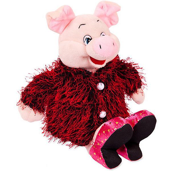 ABtoys Мягкая игрушка Свинка в розовых туфлях и бордовой шубке, 17 см.