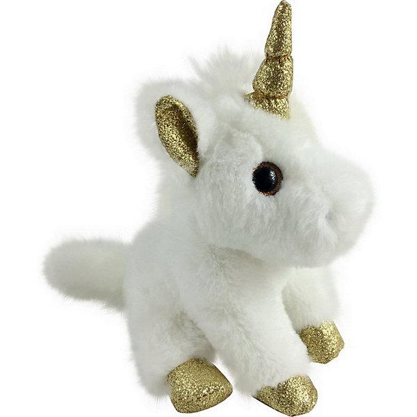 ABtoys Мягкая игрушка Единорог 15 см, белый с золотыми копытами, ушками и рогом