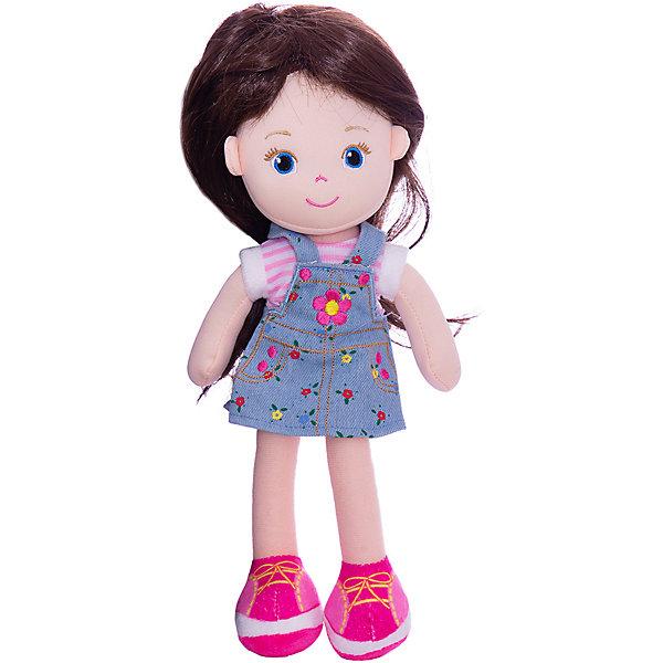 ABtoys Мягкая кукла брюнетка в синем платье, 32 см