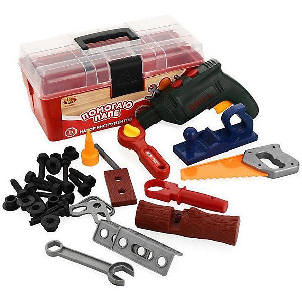 ABtoys Набор инструментов Помогаю папе в чемодане, 33 предмета