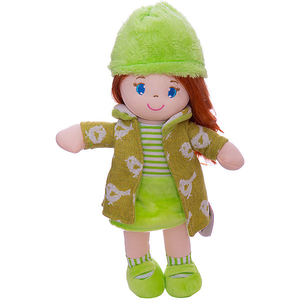 ABtoys Мягкая кукла рыжая в зелёном пальто, 36 см