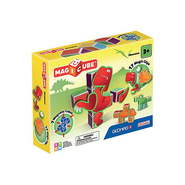 Geomag Конструктор магнитный Geomag MagiCube Динозавры, 24 детали цена