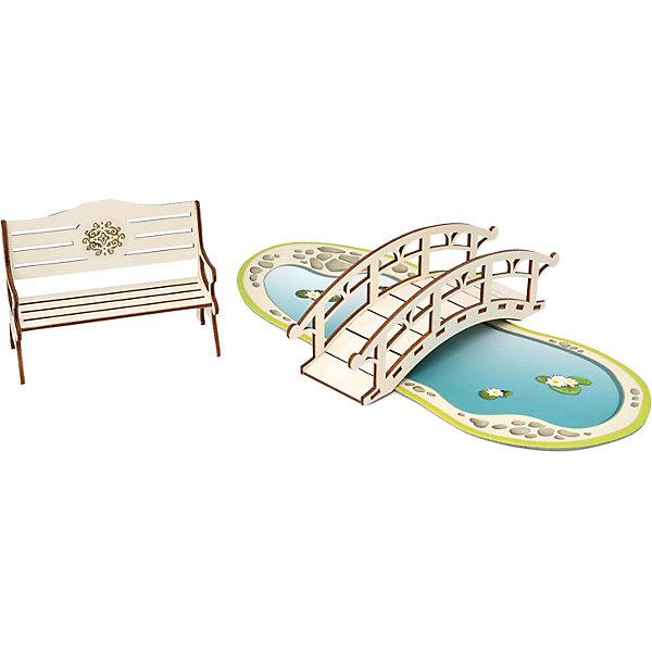 ЯиГрушка Набор Одним прекрасным утром «Скамейка, мостик, пруд», коллекция «Барокко» набор яигрушка для интерьера кукольного домика обои и ламинат в ассортименте