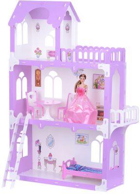 Кукольный домик Krasatoys  Милана  с мебелью, бело-сиреневый, артикул:10321427 - Куклы и аксессуары