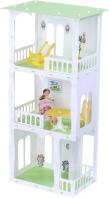 Кукольный домик R&C  Жасмин  с мебелью, бело-салатовый, артикул:10321433 - Куклы и аксессуары