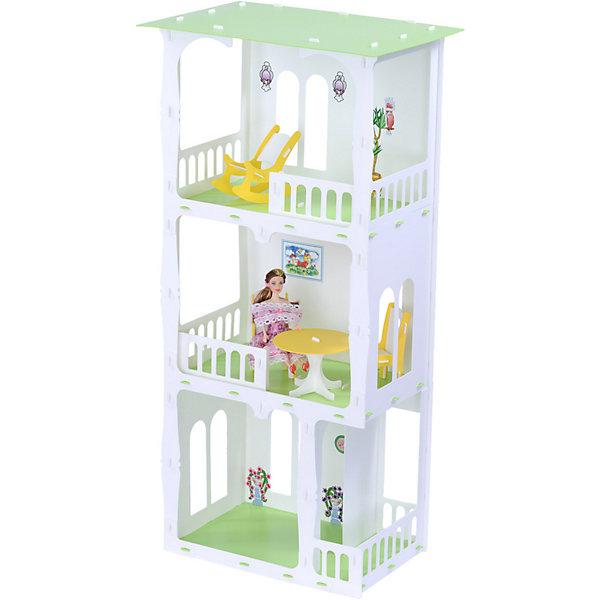 R&C Кукольный домик Жасмин с мебелью, бело-салатовый