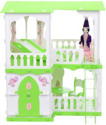Кукольный домик R&C  Алсу  с мебелью, бело-салатовый, артикул:10321435 - Куклы и аксессуары