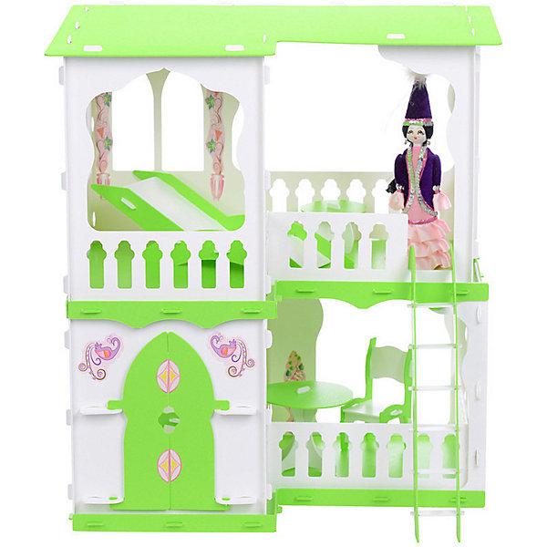 R&C Кукольный домик R&C Алсу с мебелью, бело-салатовый домик для кукол дачный дом варенька бело розовый с мебелью