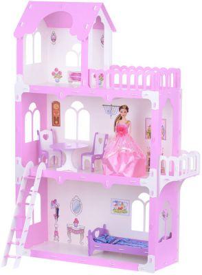 Кукольный домик Krasatoys  Милана  с мебелью, бело-розовый, артикул:10321439 - Куклы и аксессуары
