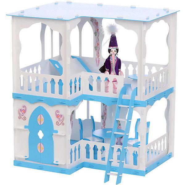 Купить Кукольный домик R&C Алсу с мебелью, бело-голубой, Россия, голубой/белый, Женский