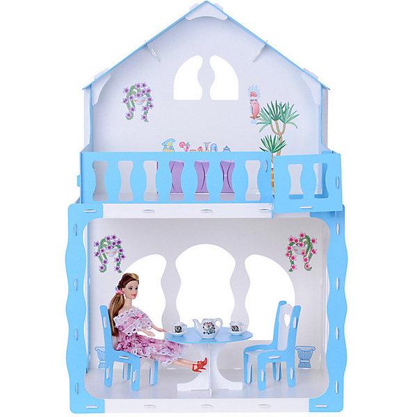 Купить Кукольный домик R&C Марина с мебелью, бело-голубой, Россия, голубой/белый, Женский