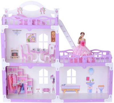Кукольный домик R&C  Анна  с мебелью, бело-сиреневый, артикул:10321451 - Куклы и аксессуары