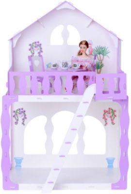 Кукольный домик R&C  Марина  с мебелью, бело-сиреневый, артикул:10321455 - Куклы и аксессуары