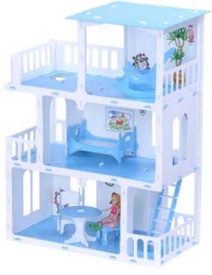 Кукольный домик R&C  Маргарита  с мебелью, бело-голубой, артикул:10321457 - Куклы и аксессуары