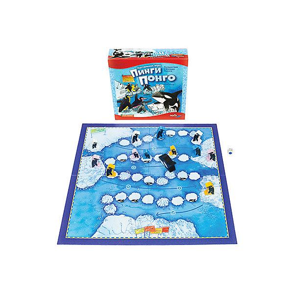 Настольная игра Стиль жизни Пинги ПонгоДля дошкольников<br>Характеристики:<br><br>• количество игроков: 2-4<br>• время игры: 15-20 минут<br>• в наборе: игровое поле, 12 деревянных фигурок пингвинов, деревянная фигурка косатки, кубик, правила игры<br>• вес упаковки: 767 г<br>• размер упаковки: 6х25х25 см<br>• страна бренда: Германия<br><br>Игра-ходилка. Участникам предстоит провести своих пингвинов до южного полюса. Идти придется по хрупким льдинам, а иногда будет удаваться переплыть большой участок по воде. Главное не встретить голодную касатку. Победит тот, кто первым пройдет путь.