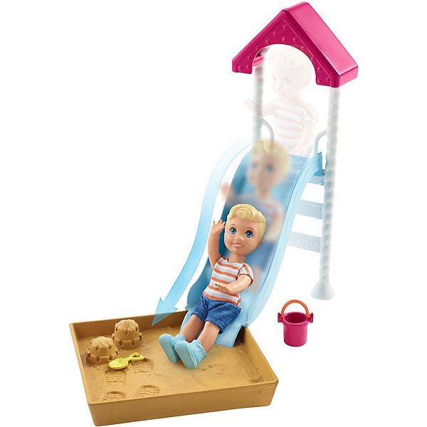 Mattel Игровой набор Barbie Скиппер няня Малыш на горке с песочницей