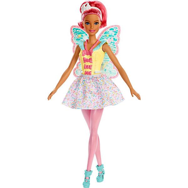 Кукла Barbie Dreamtopia Волшебная ФеяКуклы модели<br>Характеристики товара:<br><br>• материал: пластик, текстиль<br>• в комплекте: кукла, два аксессуара<br>• упаковка: блистер на картоне<br>• страна бренда: США<br><br>Барби оделась в наряд волшебной феи. Она одета в платье с бантиками на лифе и короткой юбкой. На ногах красивые туфельки. На спине крылышки с узором, легко крепятся на талии. Голову украшает диадема. Конечности куклы подвижны. Волосы можно расчёсывать. Развивает коммуникативные навыки, воображение и способности к творчеству.