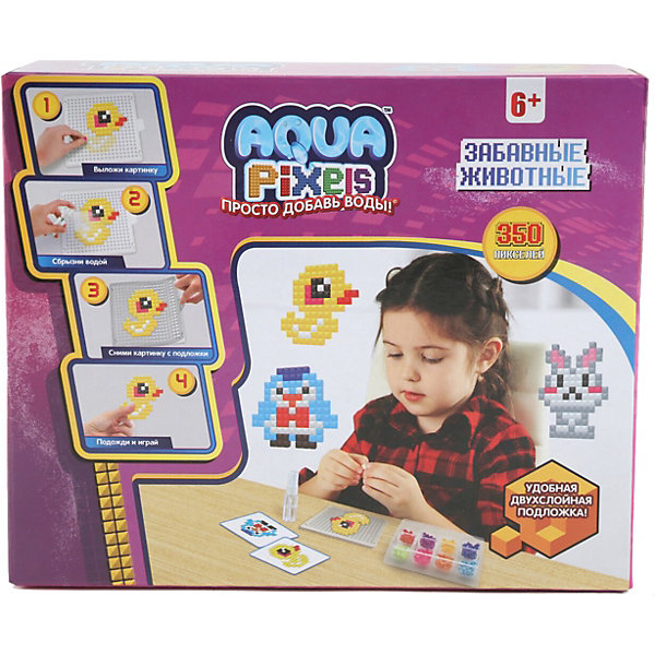 Lucky Набор для творчества 1Toy Aqua pixels Забавные животные, 350 пикселей