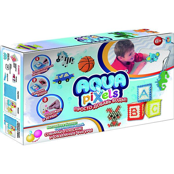 Набор для творчества 1Toy Aqua pixels Набор принцессы, 600 пикселейАквамозаика<br>Характеристики:<br><br>• материал: пластик<br>• комплектация: подложка, щипцы, 600 деталей<br>• размер упаковки: 20х32х5 см<br>•  вес упаковки: 381 г<br><br>Набор для творчества включает в себя все необходимое для создания красивой поделки. Для этого нужно положить трафарет из комплекта на подложку и подобрать бусины, сбрызнув их водой – получиться объемная или плоская фигурка. Можно использовать предложенные трафареты или же создать уникальную фигуру.