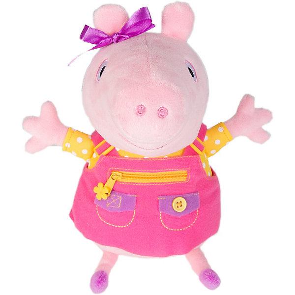 Купить Мягкая игрушка Росмэн Свинка Пеппа Пеппа учит одеваться 25 см, озвученная, Китай, блекло-розовый, Женский