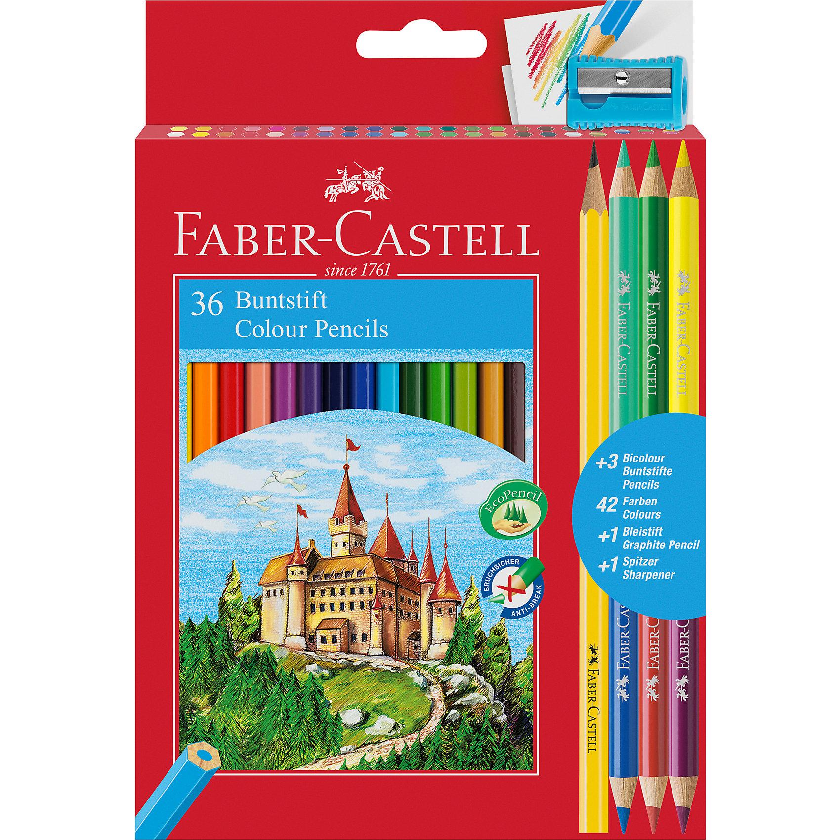 Карандаши цветные Faber-Castell, 36 цветов + 4, с точилкой по цене 750
