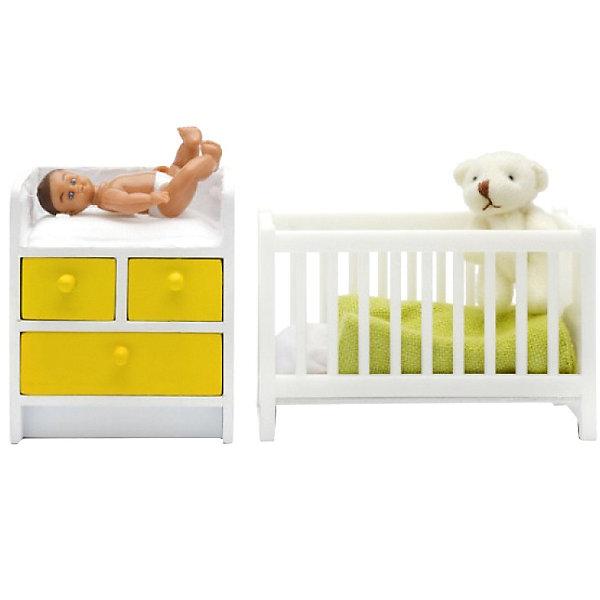 Lundby Мебель для домика Стокгольм Кровать с пеленальным комодом