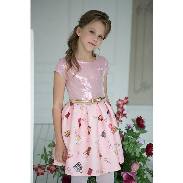 Платье Unona для девочкиОдежда<br>Характеристики:<br><br>• цвет: розовый<br>• состав ткани: 100% полиэстер<br>• подкладка: 65% п/э, 35% - хлопок<br>• сезон: круглый год<br>• особенности: нарядная<br>• короткий рукав<br>• принт на юбке<br>• верх из паеток<br><br> Это стильное праздничное платье порадует любительниц произвести яркое впечатление. Модное сочетание цветов, блеск паеток. Лиф-трикотажное полотно с паетками, юбка-ткань неопрен. Юбка хорошо держит форму . На поясе золотой ремешок, на груди бантик с декоративным элементом.