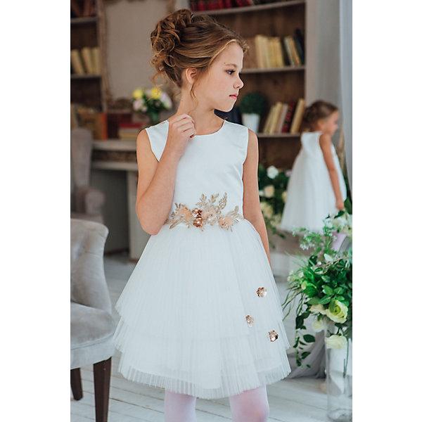 Платье Unona для девочкиОдежда<br>Характеристики:<br><br>• цвет: молочный<br>• состав ткани: 100% полиэстер<br>• подкладка: 65% п/э, 35% - хлопок<br>• сезон: круглый год<br>• особенности: нарядная одежда<br>• рукава короткие<br>• юбка-плиссе<br><br>Роскошное платье, для настоящих принцесс.  Перед лифа-итальянский репс, спина-сатин. Воздушная юбка из многослойной плиссированной сетки украшеной декоративными цветами. На талии спереди  апликация из декаративного элемента виде цветов, сзади пояс из репсовой ленты.Идеально подходит для маленькой гостьи на свадебной церемонии.