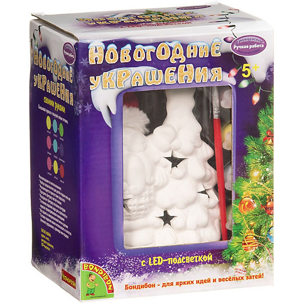 """Картинка для Bondibon Набор для творчества Bondibon """"Новогодние украшения"""" Дед Мороз с подсветкой LED"""