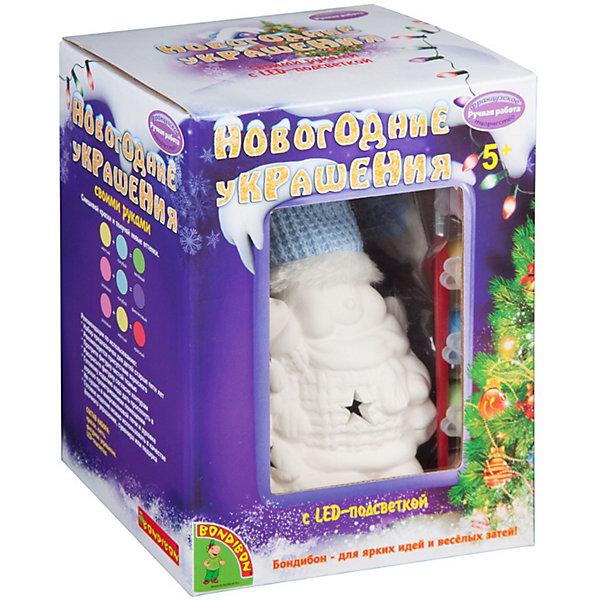 """Bondibon Набор для творчества Bondibon """"Новогодние украшения"""" Снеговик с подсветкой LED"""