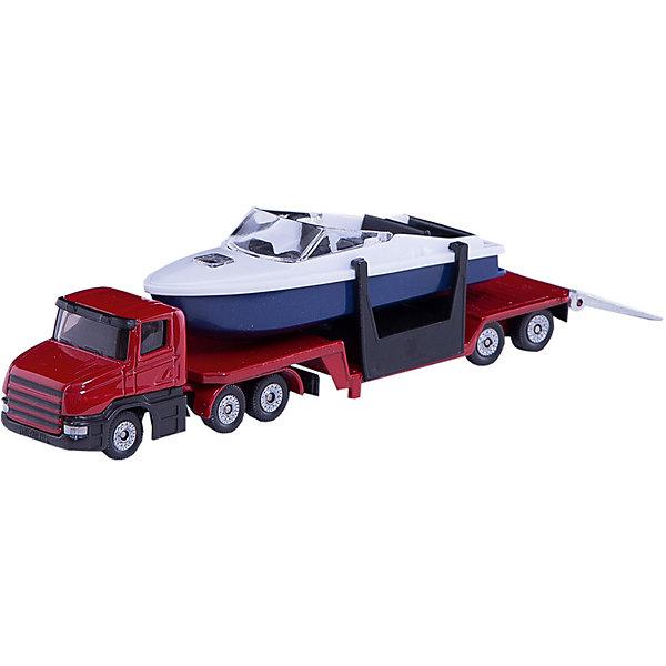 SIKU 1613 Низкорамный грузовик с катеромМашинки<br>SIKU (СИКУ) 1613 Низкорамный грузовик с катером-это игрушечная модель тягача, корпус и прицеп которого выполнены из металла, стёкла из прозрачной тонированной пластмассы.<br><br>Колёса выполнены из пластмассы и вращаются, можно катать. Прицеп отцепляется от тягача, катер снимается с прицепа.<br><br>Дополнительная информация:<br>-Размер игрушки: 16,3 x 3,6 x 4,8 см<br>-Материал: металл с элементами пластмассы<br><br>Игрушечная модель грузовика с катером  дополнит коллекцию малыша. Игра с моделями транспортных средств от SIKU (СИКУ) развивает воображение, мышление, память, мелкую моторику рук и координацию движений детей.<br><br>SIKU (СИКУ) 1613 Низкорамный грузовик с катером можно купить в нашем магазине.<br>Ширина мм: 339; Глубина мм: 91; Высота мм: 40; Вес г: 130; Возраст от месяцев: 36; Возраст до месяцев: 96; Пол: Мужской; Возраст: Детский; SKU: 1036967;