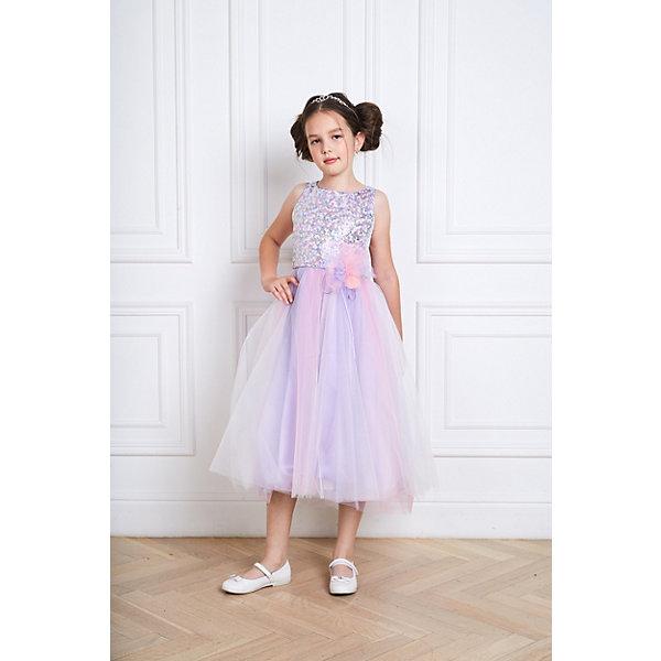 Нарядное платье ChoupetteОдежда<br>Характеристики:<br><br>• состав ткани: 100% полиэстер<br>• подкладка: 100% хлопок<br>• сезон: круглый год<br>• особенности: нарядная<br>• рукава: нет<br>• пайетки<br>• страна бренда: Россия<br> <br>Нарядное платье отличается приталенным силуэтом и длиной ниже колен. Декор модели - крупный ажурный цветок на талии. Платье выглядит нарядно благодаря эффектному лифу, расшитому пайетками, и пышному многослойному подолу. Материалы изделия безопасны для детей.