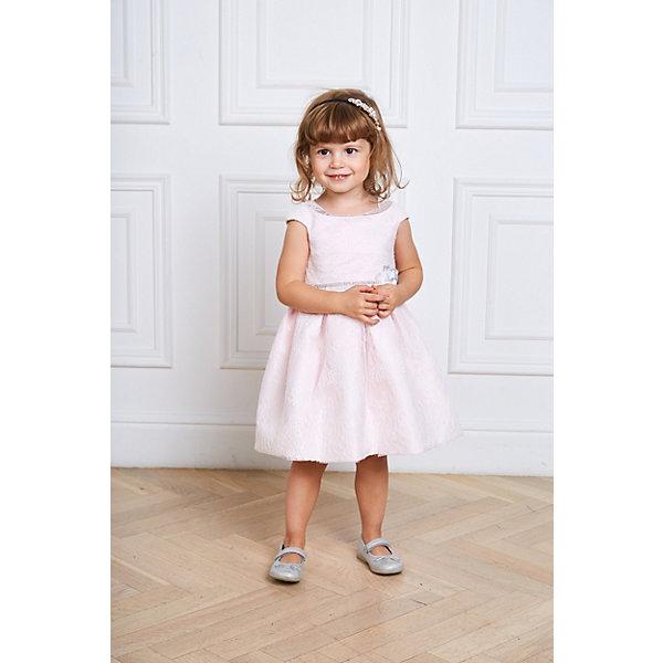 Нарядное платье ChoupetteОдежда<br>Характеристики:<br><br>• состав ткани: 100% полиэстер<br>• подкладка: 100% хлопок<br>• сезон: круглый год<br>• особенности: нарядная<br>• рукава: нет<br>• стразы<br>• страна бренда: Россия<br> <br>Платье отличается ажурным материалом верха, который наложен поверх более плотного. Длина модели - чуть ниже колен, декор - блестящая линия талии и текстильный цветок. Нарядное платье дополнено подкладкой из дышащего натурального хлопка. Все использованные при создании модели материалы безопасны для детей.