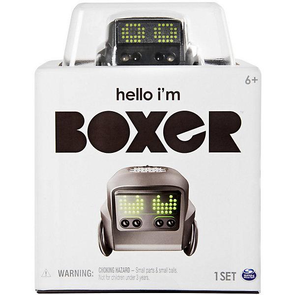 Интерактивный робот Spin Master Boxer, черныйРоботы-игрушки<br>Характеристики товара:<br><br>• материал: пластик <br>• в комплекте: робот, 10 карт контролирующие эмоции, пульт управления, интерактивный шар, микро USB-зарядка, инструкция<br>• встроенная батарейка с возможностью<br>• 6 ИК сенсоров<br>• кнопка активации<br>• встроенные моторы<br>• LED глаза<br>• колёса с датчиком положений<br>• бесплатное приложение для смартфонов<br>• реагирует на движение рук<br>• сканирует карточки и выполняет задания<br>• упаковка: картонная коробка с блистерным окошком<br>• вес в упаковке: 540 гр<br>• размер упаковки: 13х13х17 см<br>• страна бренда: Канада<br><br>Интерактивный робот может менять эмоции и выполнять различные задания. Для этого нужно поставить перед ним одну из 10 карточек, он просканирует её и начнёт менять своё настроение на грустное, счастливое, сонное или даже сердитое. А Led глаза продемонстрируют весь спектр изменений. С ним можно играть в различные игры и даже в футбол при помощи специального шарика, который есть в комплекте. Играть можно при помощи пульта и карточек или через приложение на смартфоне. Можно устраивать гонки или выполнять различные трюки. Изготовлен из качественных и безопасных материалов.