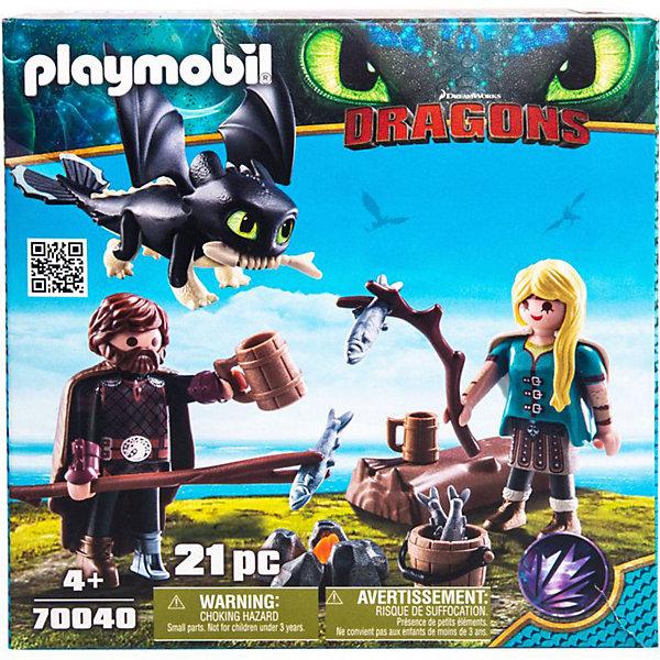 Игровой набор Playmobil Dragons Викинг и АстридИгровые наборы с фигурками<br>Характеристики:<br><br>• комплектация: фигурка, аксессуары<br>• количество элементов: 21 шт<br>• количество мини-фигурок: 2 шт<br>• высота фигурки: 7,5 см<br>• материал: пластик<br>• упаковка: картонная коробка<br>• страна бренда: Германия<br><br>Качественное исполнение и реалистичная детальная проработка набора позволит использовать его в веселых сюжетно-ролевых играх. Изготовлен по мотивам захватывающей истории о викингах и драконах. Фигурки подвижны и могут держать в руках небольшие элементы из набора. Увлекательный набор для конструирования в яркой упаковке.