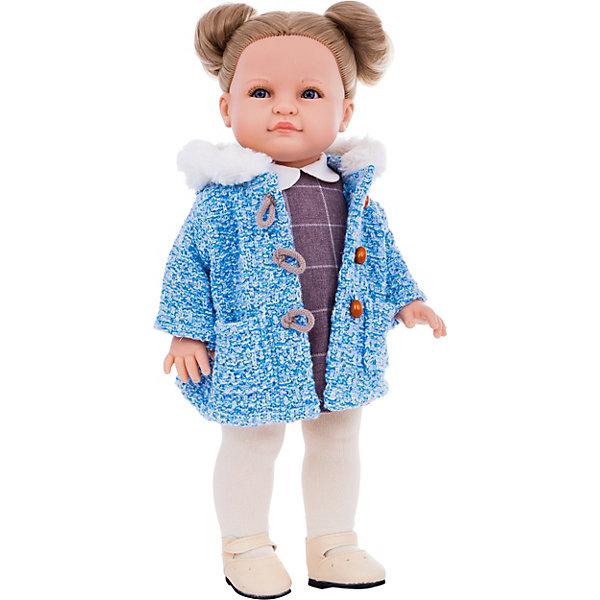 Кукла Reina del Norte Валерия, 40 смКлассические куклы<br>Характеристики:<br><br>• высота куклы: 40 см<br>• глаза не закрываются<br>• материалы: кукла изготовлена из винила; глаза выполнены в виде кристалла из прозрачного твердого пластика; волосы сделаны из высококачественного нейлона<br>• упаковка: картонная коробка<br><br>Образ куклы Валерии продуман до мелочей. У куклы уникальный и неповторимый дизайн лица и тела.<br><br>Голубые глаза с длинными ресничками, легкий румянец на щечках и аккуратные губки проработаны вручную.<br><br>Густые светло-русые волосы куклы надежно прошиты. Они блестят, не запутываются. Волосы можно расчесывать и мыть, при этом они не портятся и не выпадают.<br><br>Валерия одета в сиреневое платье с белым воротником и теплое голубое пальто с мехом, крупными пуговицами и карманами, на ножках - белые колготки и бежевые туфельки. Одежду и обувь можно снимать.<br><br>Кукла имеет пропорциональное телосложение. Голова, руки и ноги подвижны. Тело куклы выполнено из приятного на ощупь высококачественного винила, который имеет лёгкий аромат ванили.<br><br>Материалы, из которых изготовлена кукла, прошли все необходимые проверки на безопасность. Качество подтверждено нормами безопасности EN71 ЕЭС.