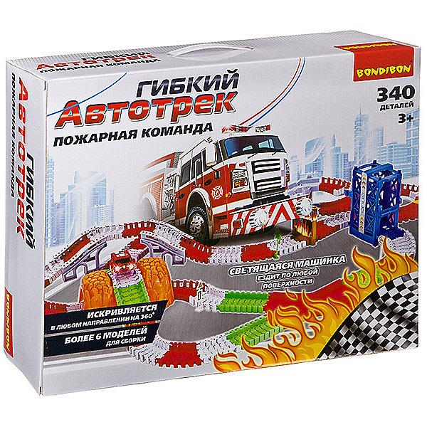 Купить Гибкий автотрек Bondibon Пожарная команда со светящимися машинками, 340 деталей, Китай, Мужской