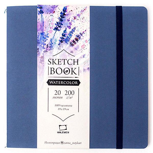 Малевичъ Скетчбук для акварели Waterfall Nature, синий, 20 листов
