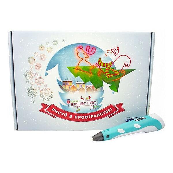 Купить Новогодний набор 3Д Ручка Spider Pen PLUS, Пластик, Трафареты, цвет Голубой, Россия, синий, Унисекс
